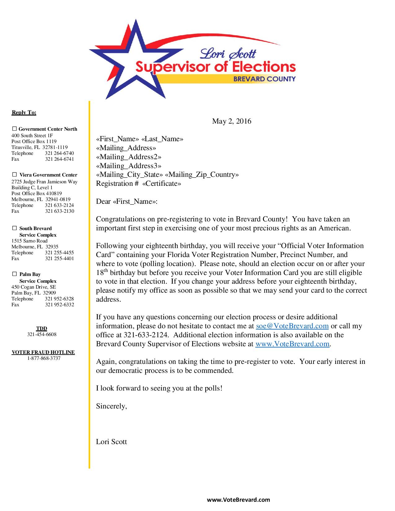 Elections Office Mailings