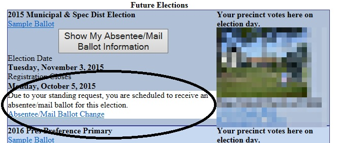 Due to your standing request you are scheduled to receive an absentee ballot